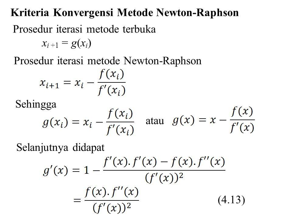 Karena syarat cukup konvergen maka metode Newton-Raphson akan konvergen jika (4.14) Latihan Tentukan solusi hampiran akar dari fungsi f (x) = x 3 – 6x 2 + 11x – 6 dengan menggunakan metode Newton-Raphson.