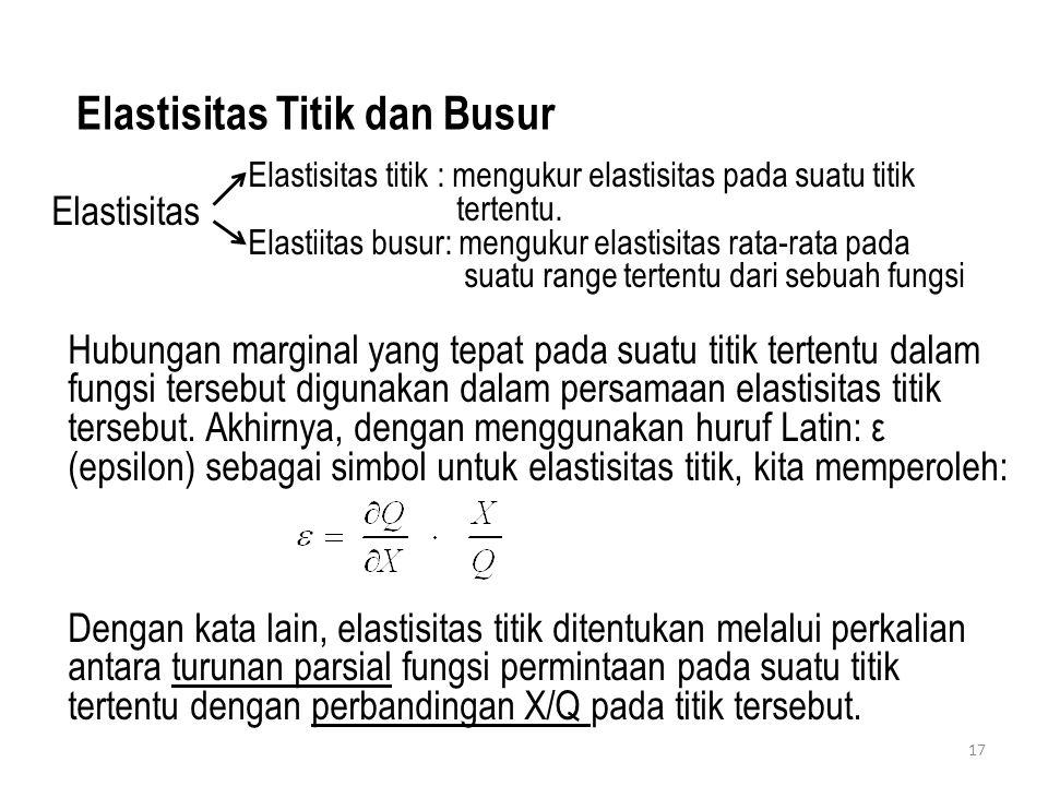 17 Elastisitas Titik dan Busur Elastisitas titik : mengukur elastisitas pada suatu titik tertentu. Elastiitas busur: mengukur elastisitas rata-rata pa