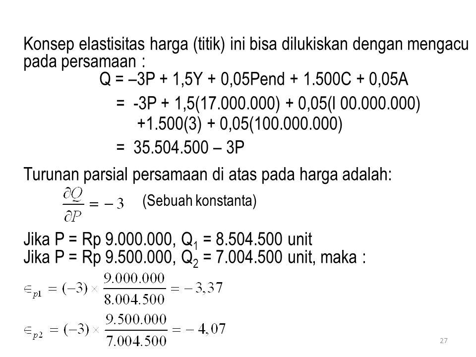 27 Konsep elastisitas harga (titik) ini bisa dilukiskan dengan mengacu pada persamaan : Q = –3P + 1,5Y + 0,05Pend + 1.500C + 0,05A = -3P + 1,5(17.000.