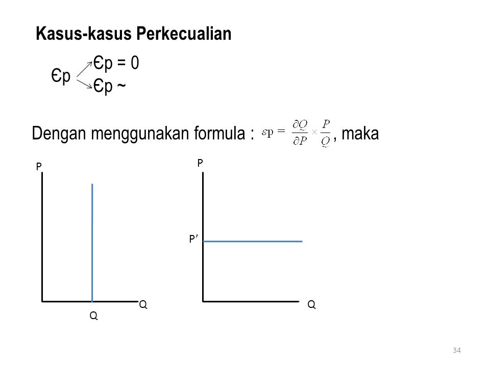 34 Kasus-kasus Perkecualian Dengan menggunakan formula :, maka ЄpЄp Єp = 0 Єp ~ P Q P' Q P Q