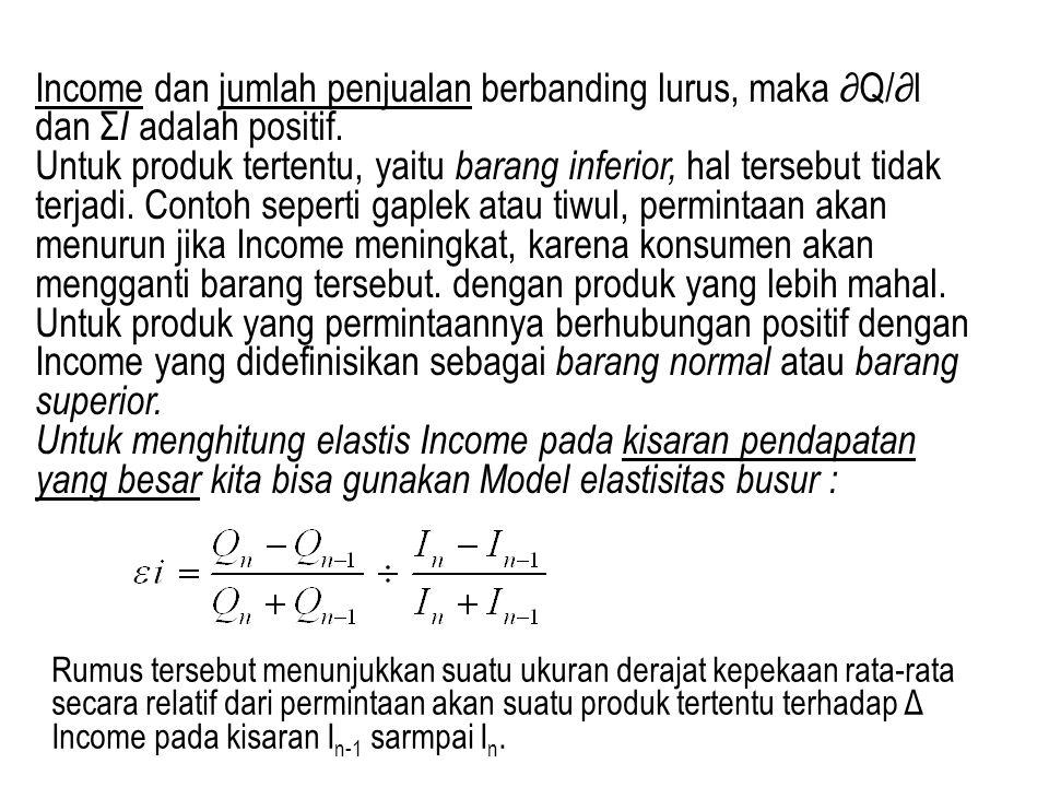Income dan jumlah penjualan berbanding lurus, maka ∂Q/∂l dan Σ I adalah positif. Untuk produk tertentu, yaitu barang inferior, hal tersebut tidak terj