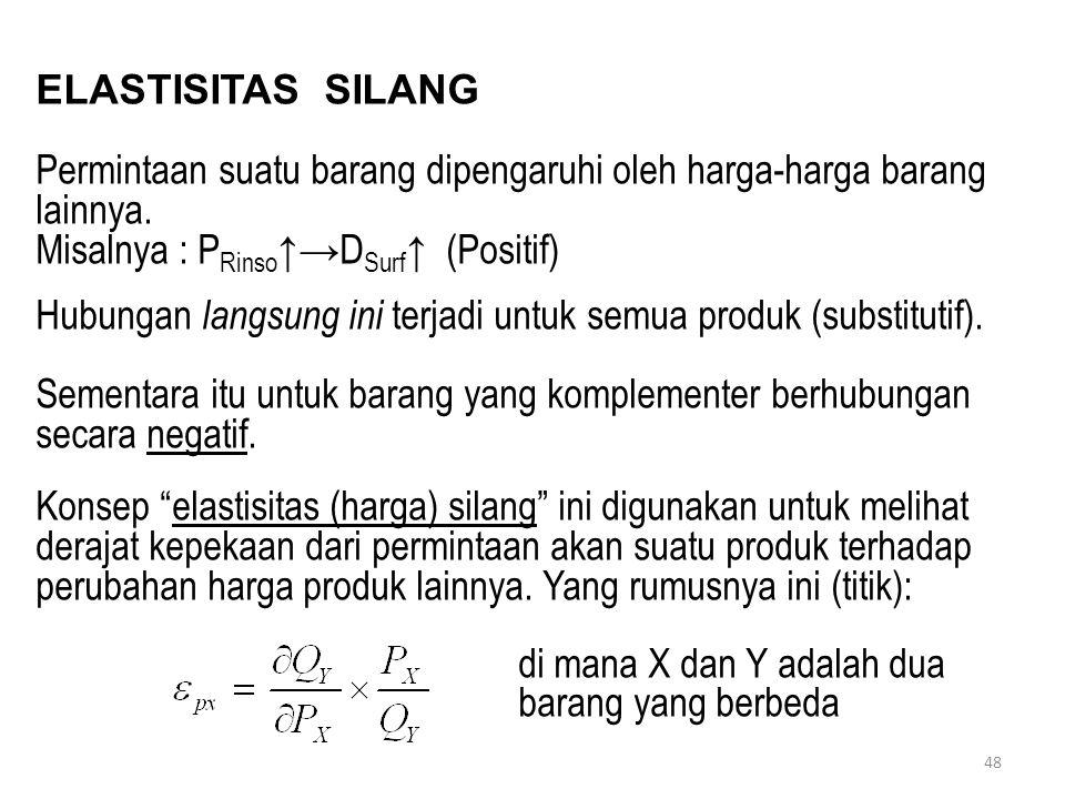 48 ELASTISITAS SILANG Permintaan suatu barang dipengaruhi oleh harga-harga barang lainnya. Misalnya : P Rinso ↑→D Surf ↑ (Positif) Hubungan langsung i