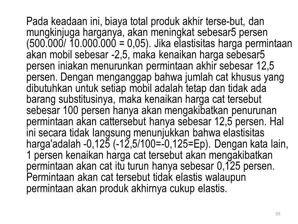59 Pada keadaan ini, biaya total produk akhir terse-but, dan mungkinjuga harganya, akan meningkat sebesar5 persen (500.000/ 10.000.000 = 0,05). Jika e