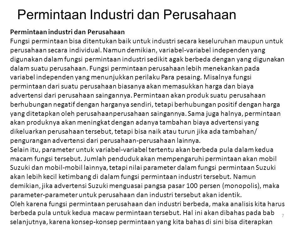 Permintaan Industri dan Perusahaan Permintaan industri dan Perusahaan Fungsi permintaan bisa ditentukan baik untuk industri secara keseluruhan maupun