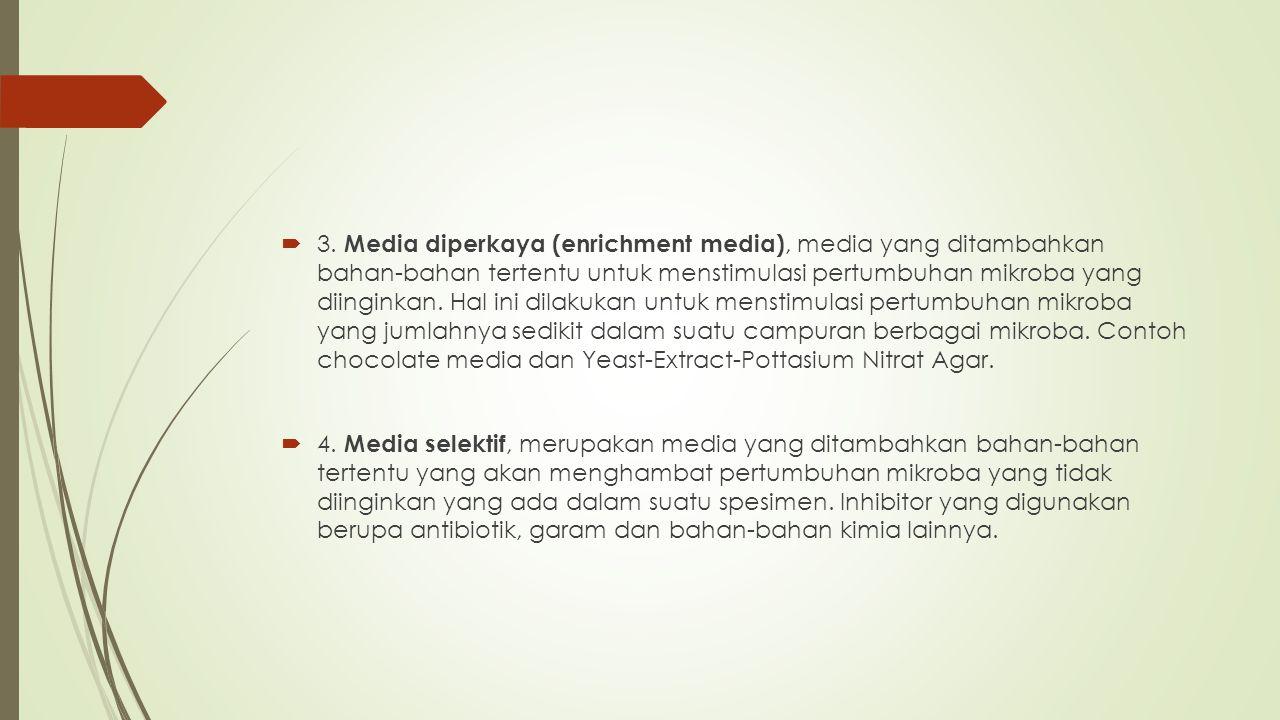  3. Media diperkaya (enrichment media), media yang ditambahkan bahan-bahan tertentu untuk menstimulasi pertumbuhan mikroba yang diinginkan. Hal ini d