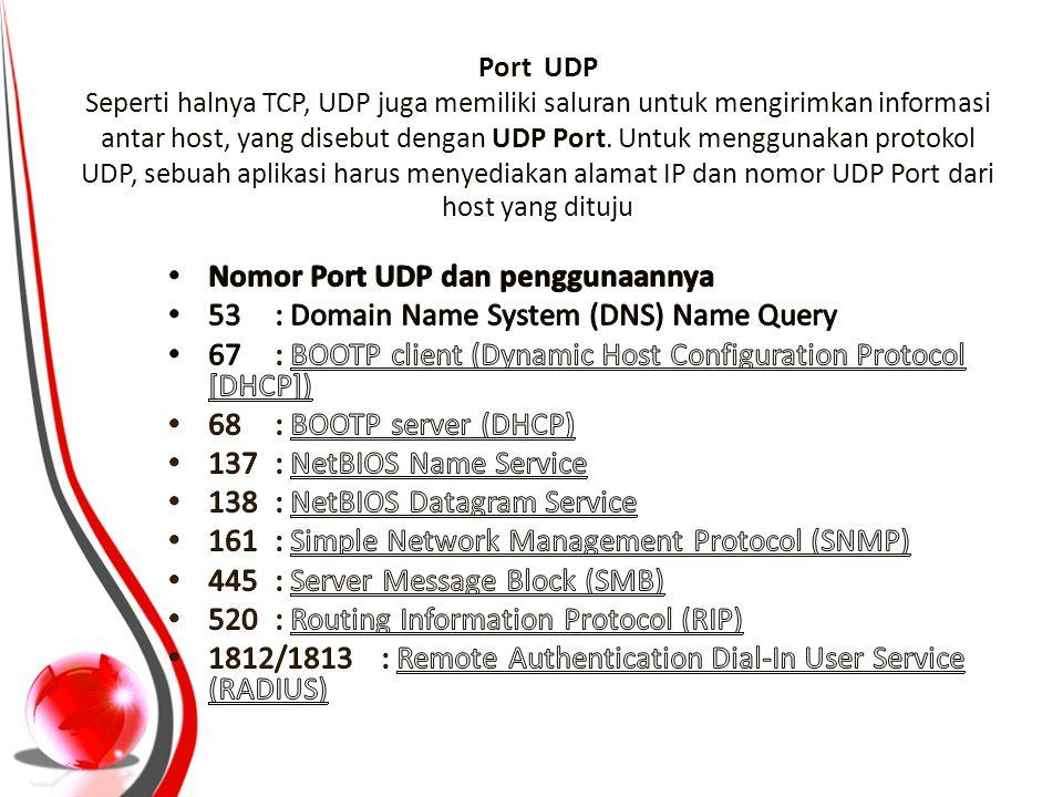 Port UDP Seperti halnya TCP, UDP juga memiliki saluran untuk mengirimkan informasi antar host, yang disebut dengan UDP Port. Untuk menggunakan protoko