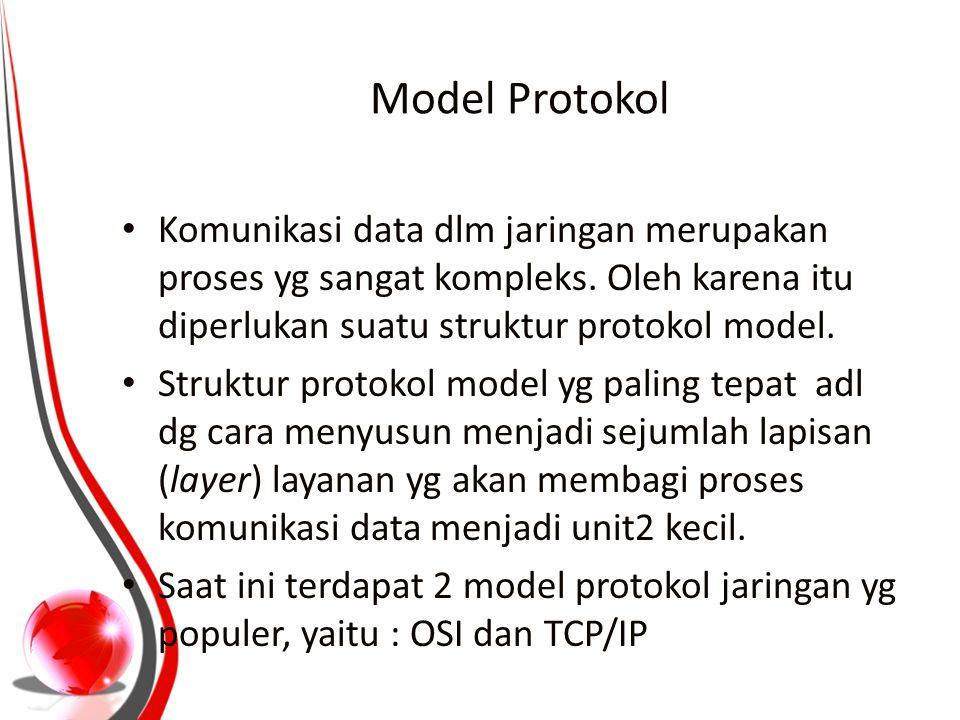 Model Protokol Komunikasi data dlm jaringan merupakan proses yg sangat kompleks. Oleh karena itu diperlukan suatu struktur protokol model. Struktur pr