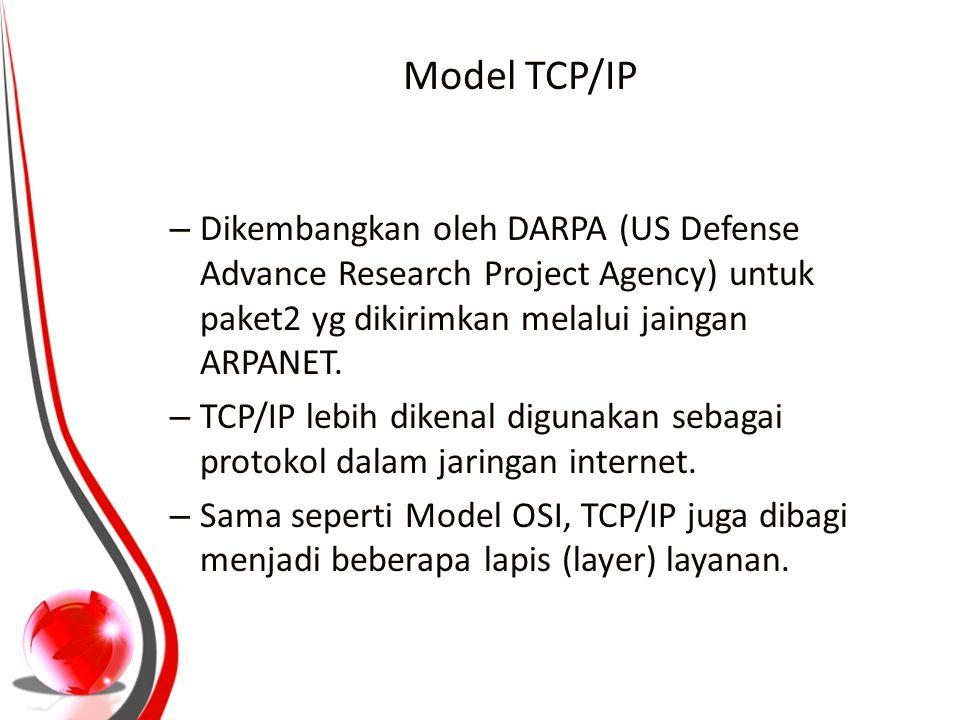 Model TCP/IP – Dikembangkan oleh DARPA (US Defense Advance Research Project Agency) untuk paket2 yg dikirimkan melalui jaingan ARPANET. – TCP/IP lebih