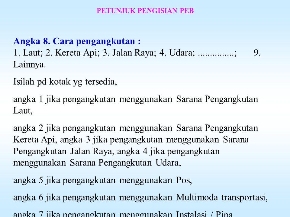 PETUNJUK PENGISIAN PEB Angka 5. Identitas PPJK : NPWP - Diisi nomor NPWP Pengusaha Pengurusan Jasa Kepabeanan (PPJK). Angka 6. Nama, Alamat PPJK : Dii