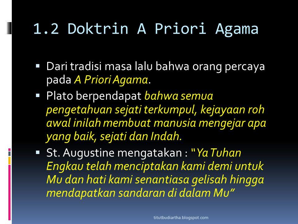 1.2 Doktrin A Priori Agama  Dari tradisi masa lalu bahwa orang percaya pada A Priori Agama.  Plato berpendapat bahwa semua pengetahuan sejati terkum