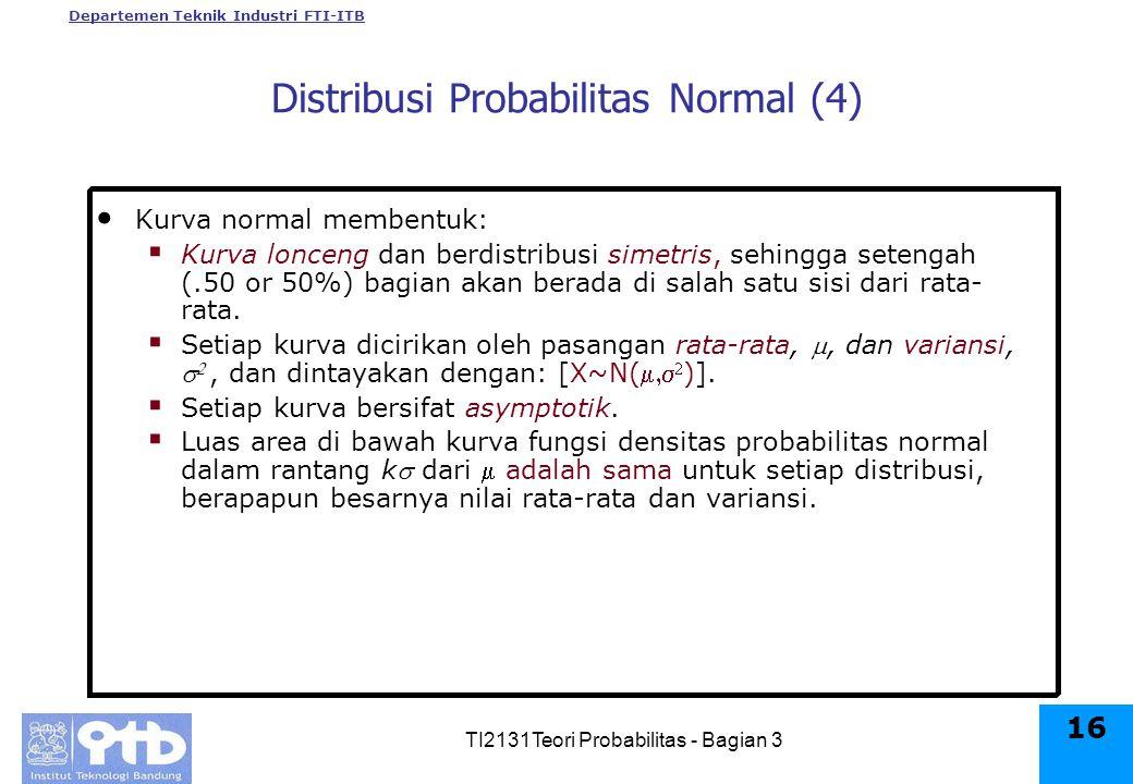 Departemen Teknik Industri FTI-ITB TI2131Teori Probabilitas - Bagian 3 16 Kurva normal membentuk:  Kurva lonceng dan berdistribusi simetris, sehingga setengah (.50 or 50%) bagian akan berada di salah satu sisi dari rata- rata.