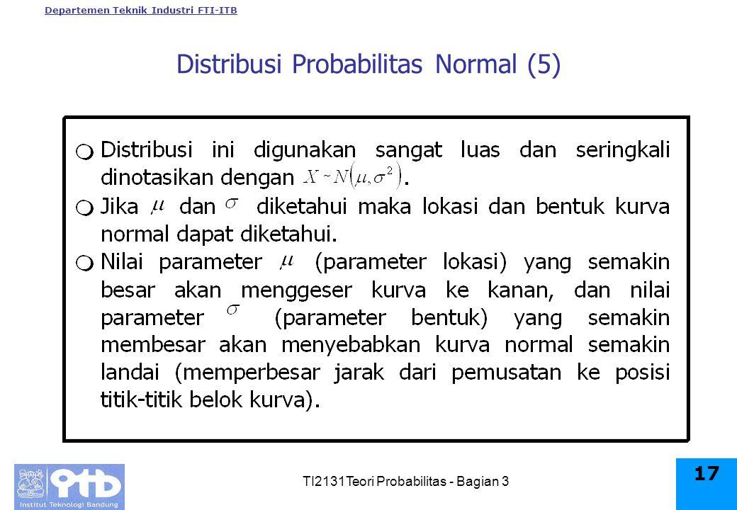 Departemen Teknik Industri FTI-ITB TI2131Teori Probabilitas - Bagian 3 17 Distribusi Probabilitas Normal (5)