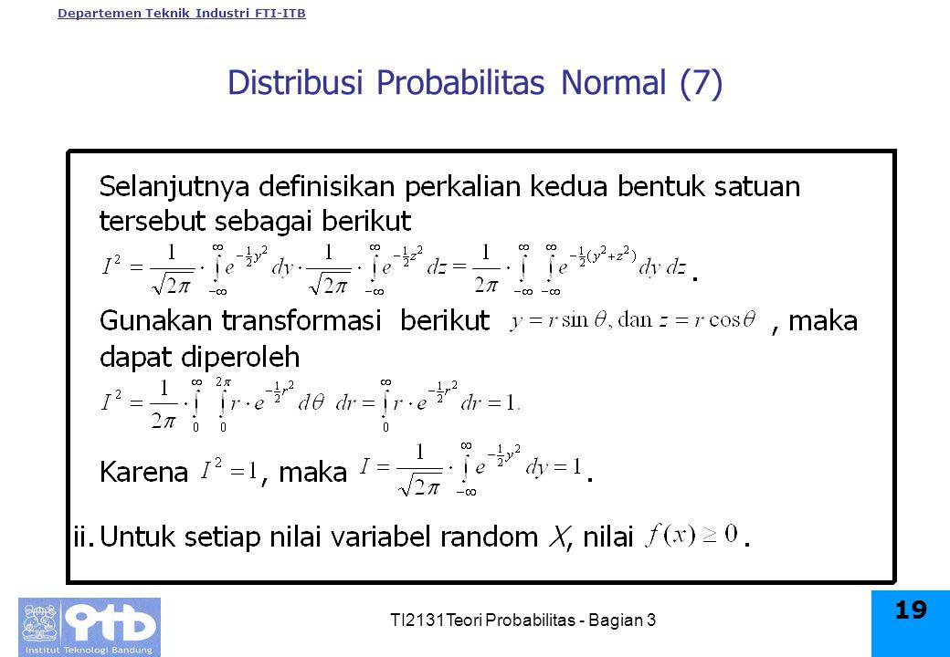 Departemen Teknik Industri FTI-ITB TI2131Teori Probabilitas - Bagian 3 19 Distribusi Probabilitas Normal (7)