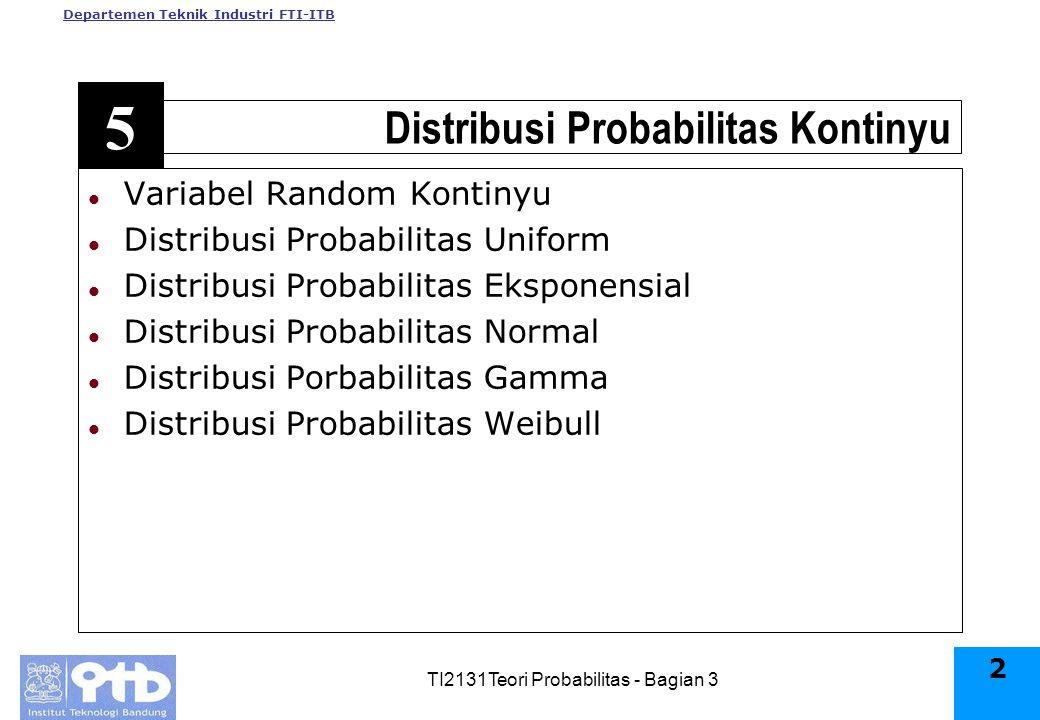 Departemen Teknik Industri FTI-ITB TI2131Teori Probabilitas - Bagian 3 2 l Variabel Random Kontinyu l Distribusi Probabilitas Uniform l Distribusi Probabilitas Eksponensial l Distribusi Probabilitas Normal l Distribusi Porbabilitas Gamma l Distribusi Probabilitas Weibull Distribusi Probabilitas Kontinyu 5