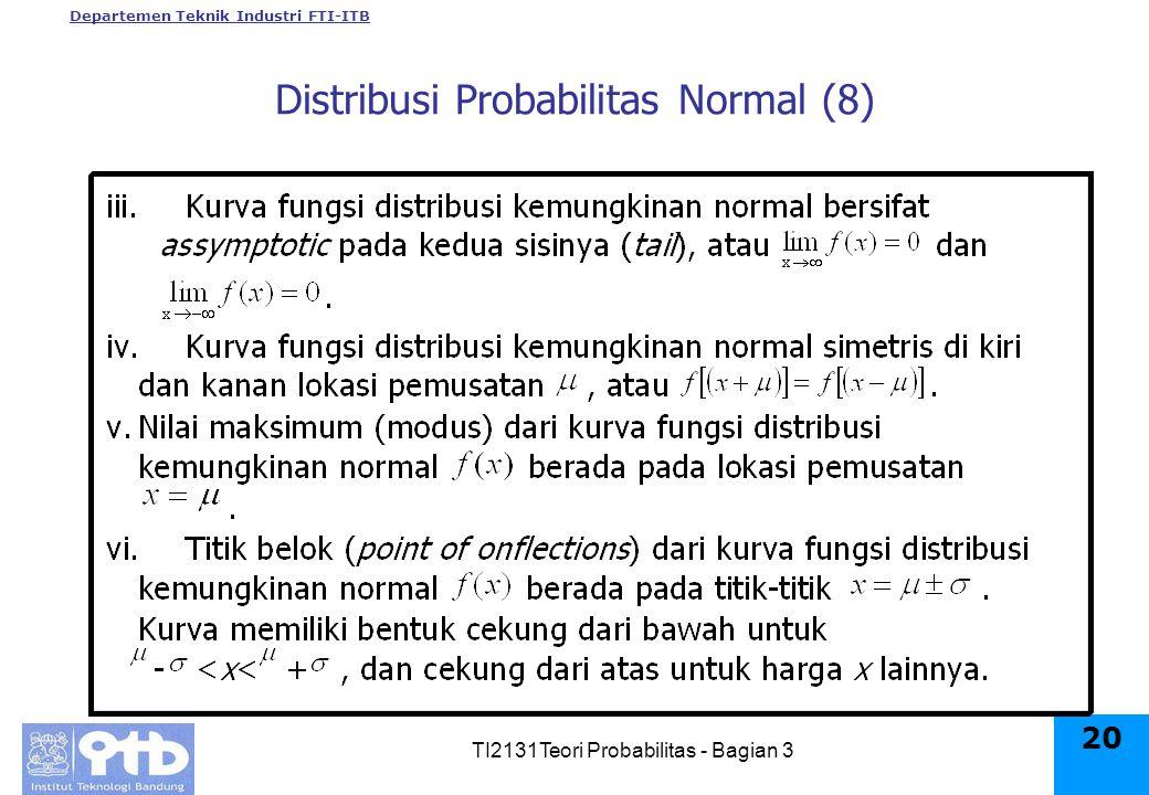 Departemen Teknik Industri FTI-ITB TI2131Teori Probabilitas - Bagian 3 20 Distribusi Probabilitas Normal (8)