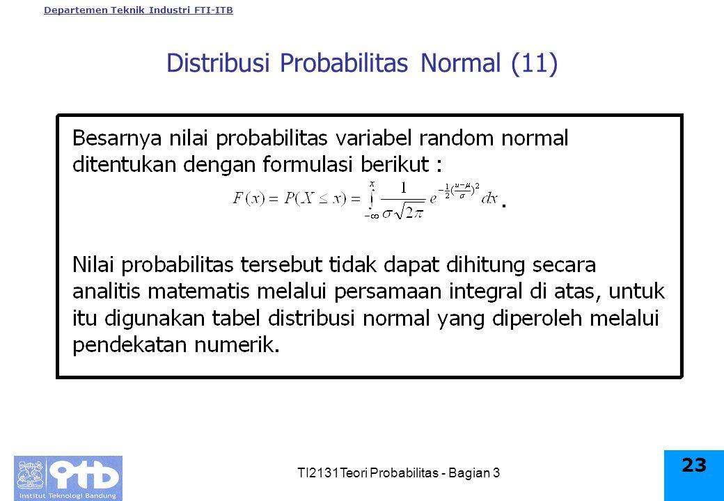Departemen Teknik Industri FTI-ITB TI2131Teori Probabilitas - Bagian 3 23 Distribusi Probabilitas Normal (11)