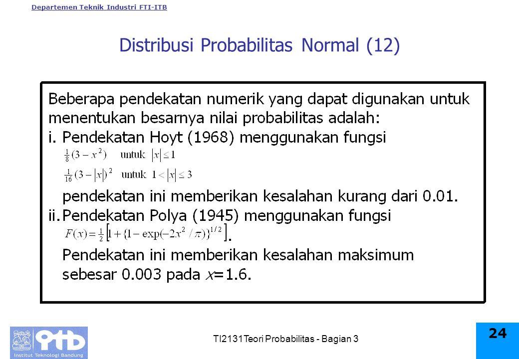 Departemen Teknik Industri FTI-ITB TI2131Teori Probabilitas - Bagian 3 24 Distribusi Probabilitas Normal (12)