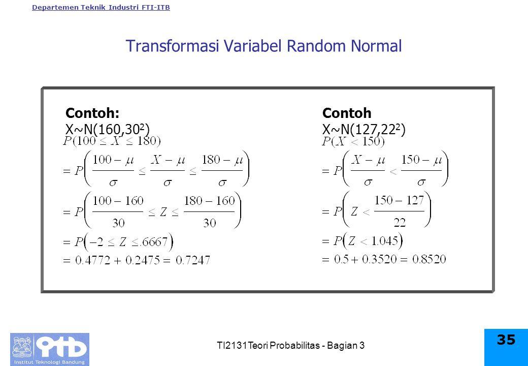 Departemen Teknik Industri FTI-ITB TI2131Teori Probabilitas - Bagian 3 35 Contoh: X~N(160,30 2 ) Contoh X~N(127,22 2 ) Transformasi Variabel Random Normal