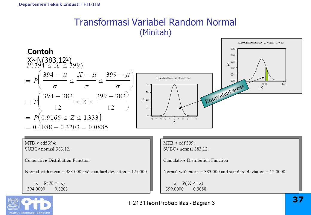Departemen Teknik Industri FTI-ITB TI2131Teori Probabilitas - Bagian 3 37 Contoh X~N(383,12 2 ) 440390340 0.05 0.04 0.03 0.02 0.01 0.00 X f ( X ) Normal Distribution:  = 383,  = 12 MTB > cdf 394; SUBC> normal 383,12.
