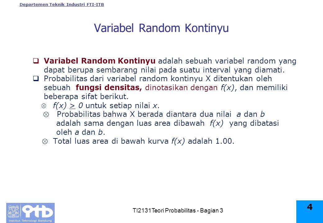 Departemen Teknik Industri FTI-ITB TI2131Teori Probabilitas - Bagian 3 4 Variabel Random Kontinyu  Variabel Random Kontinyu adalah sebuah variabel random yang dapat berupa sembarang nilai pada suatu interval yang diamati.