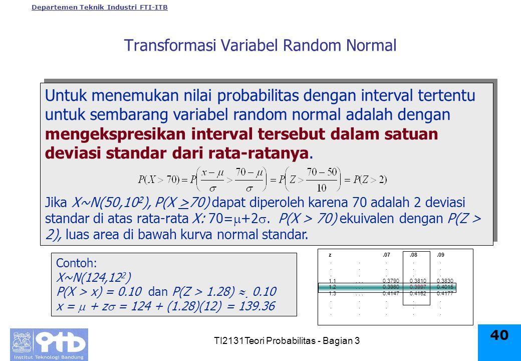 Departemen Teknik Industri FTI-ITB TI2131Teori Probabilitas - Bagian 3 40 z.07.08.09.....