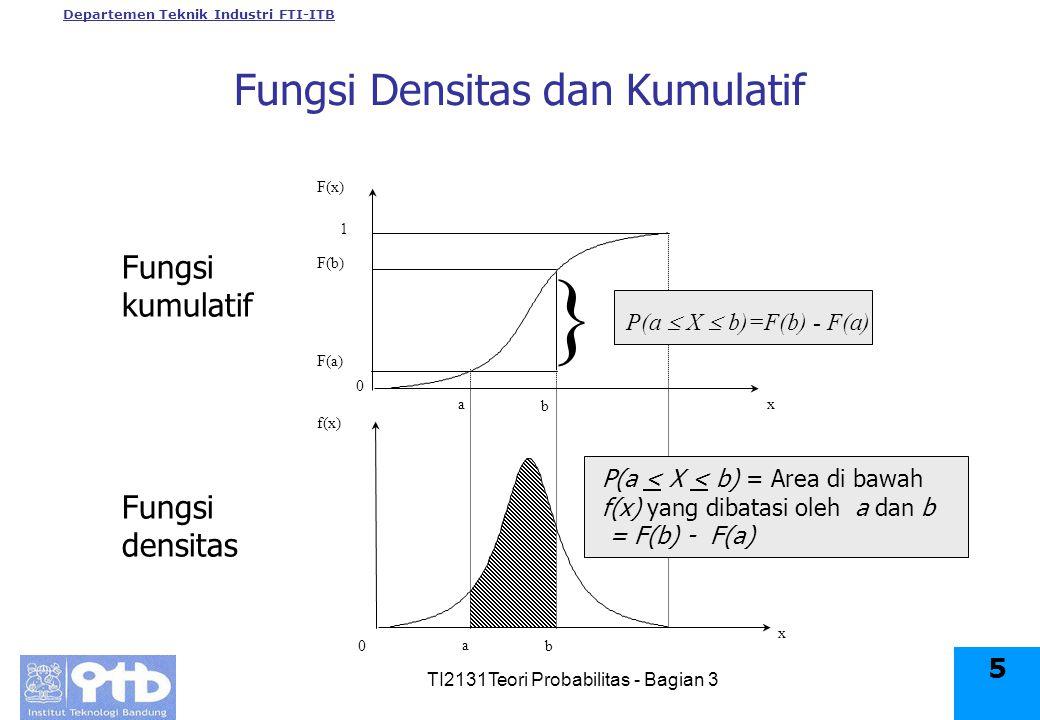 Departemen Teknik Industri FTI-ITB TI2131Teori Probabilitas - Bagian 3 5 Fungsi Densitas dan Kumulatif F(x) f(x) x x 0 0 b a F(b) F(a) 1 b a } P(a < X < b) = Area di bawah f(x) yang dibatasi oleh a dan b = F(b) - F(a) P(a  X  b)=F(b) - F(a) Fungsi kumulatif Fungsi densitas
