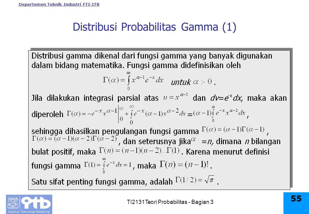 Departemen Teknik Industri FTI-ITB TI2131Teori Probabilitas - Bagian 3 55 Distribusi Probabilitas Gamma (1)
