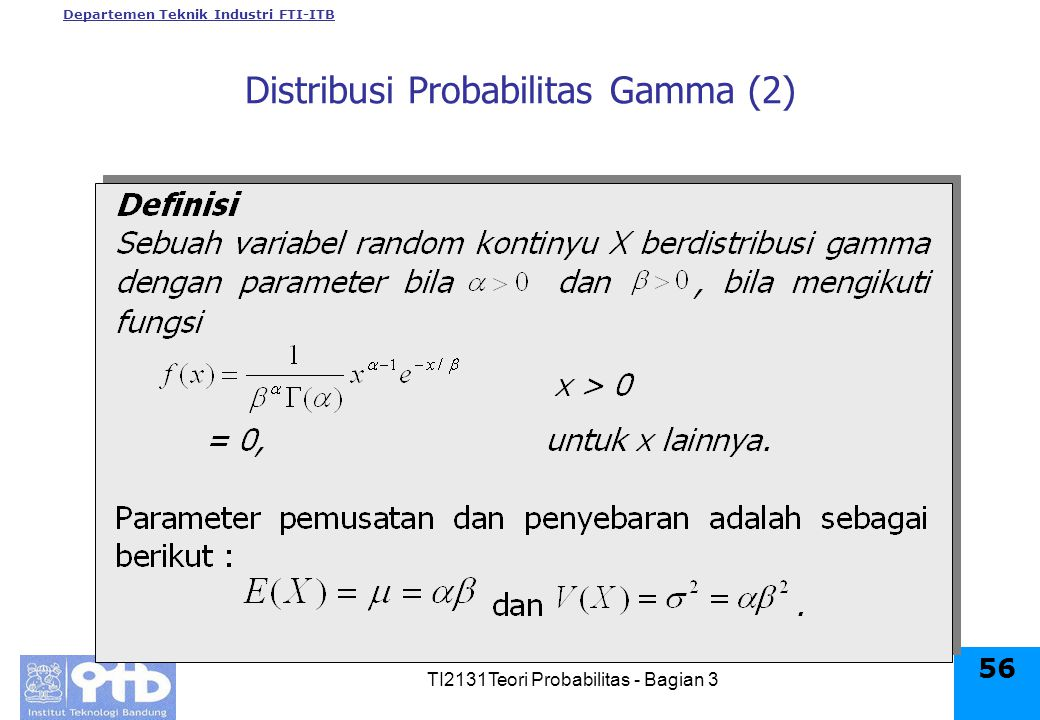Departemen Teknik Industri FTI-ITB TI2131Teori Probabilitas - Bagian 3 56 Distribusi Probabilitas Gamma (2)