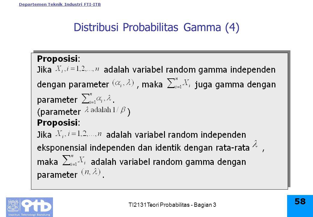 Departemen Teknik Industri FTI-ITB TI2131Teori Probabilitas - Bagian 3 58 Distribusi Probabilitas Gamma (4)
