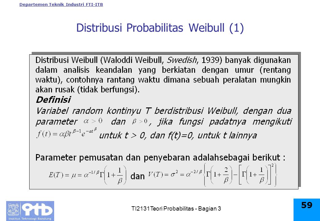 Departemen Teknik Industri FTI-ITB TI2131Teori Probabilitas - Bagian 3 59 Distribusi Probabilitas Weibull (1)