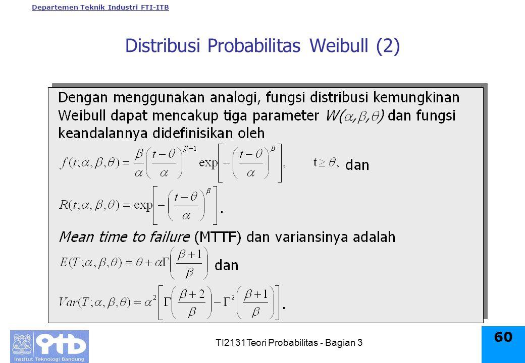 Departemen Teknik Industri FTI-ITB TI2131Teori Probabilitas - Bagian 3 60 Distribusi Probabilitas Weibull (2)