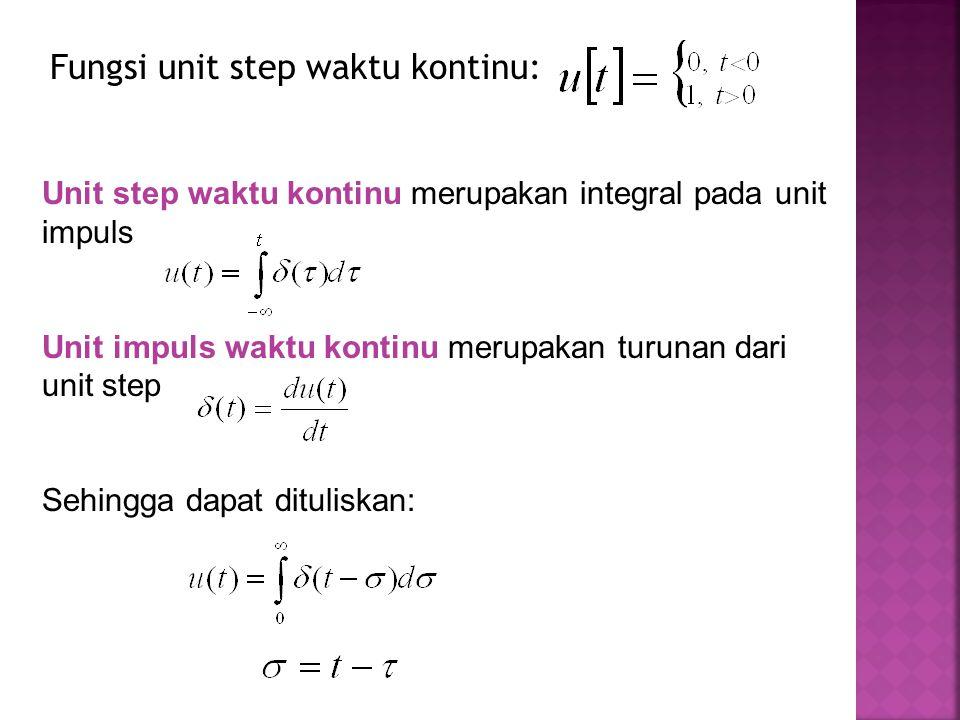 Fungsi unit step waktu kontinu: Unit step waktu kontinu merupakan integral pada unit impuls Unit impuls waktu kontinu merupakan turunan dari unit step Sehingga dapat dituliskan: