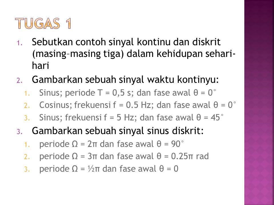 1. Sebutkan contoh sinyal kontinu dan diskrit (masing–masing tiga) dalam kehidupan sehari- hari 2. Gambarkan sebuah sinyal waktu kontinyu: 1. Sinus; p