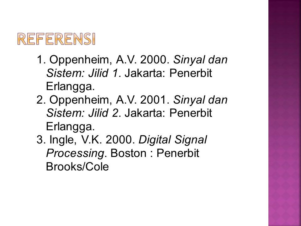 1. Oppenheim, A.V. 2000. Sinyal dan Sistem: Jilid 1. Jakarta: Penerbit Erlangga. 2. Oppenheim, A.V. 2001. Sinyal dan Sistem: Jilid 2. Jakarta: Penerbi