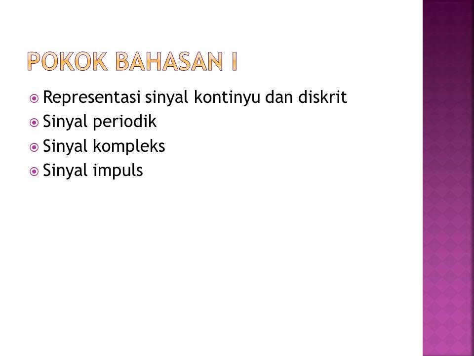  Representasi sinyal kontinyu dan diskrit  Sinyal periodik  Sinyal kompleks  Sinyal impuls