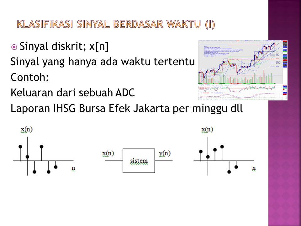  Sinyal diskrit; x[n] Sinyal yang hanya ada waktu tertentu Contoh: Keluaran dari sebuah ADC Laporan IHSG Bursa Efek Jakarta per minggu dll