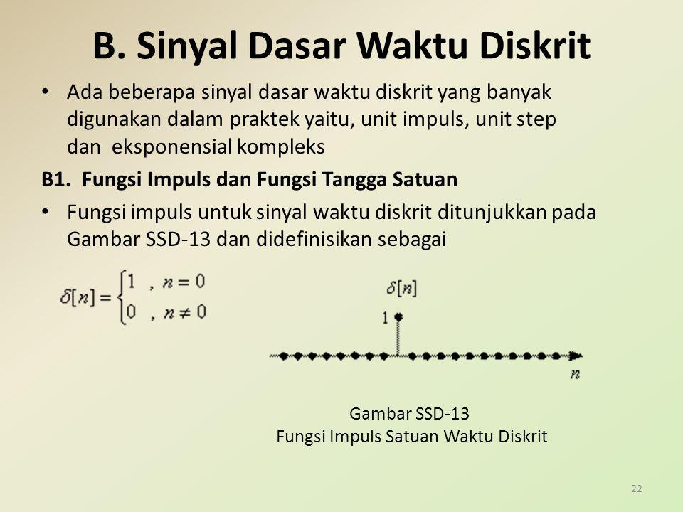 B. Sinyal Dasar Waktu Diskrit Ada beberapa sinyal dasar waktu diskrit yang banyak digunakan dalam praktek yaitu, unit impuls, unit step dan eksponensi