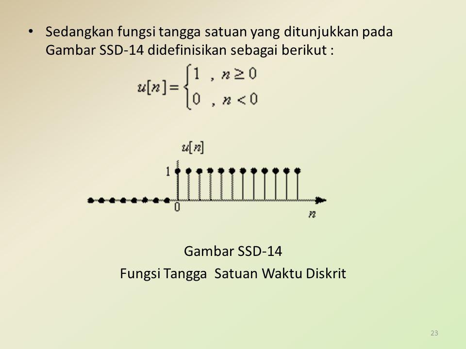 Sedangkan fungsi tangga satuan yang ditunjukkan pada Gambar SSD-14 didefinisikan sebagai berikut : Gambar SSD-14 Fungsi Tangga Satuan Waktu Diskrit 23