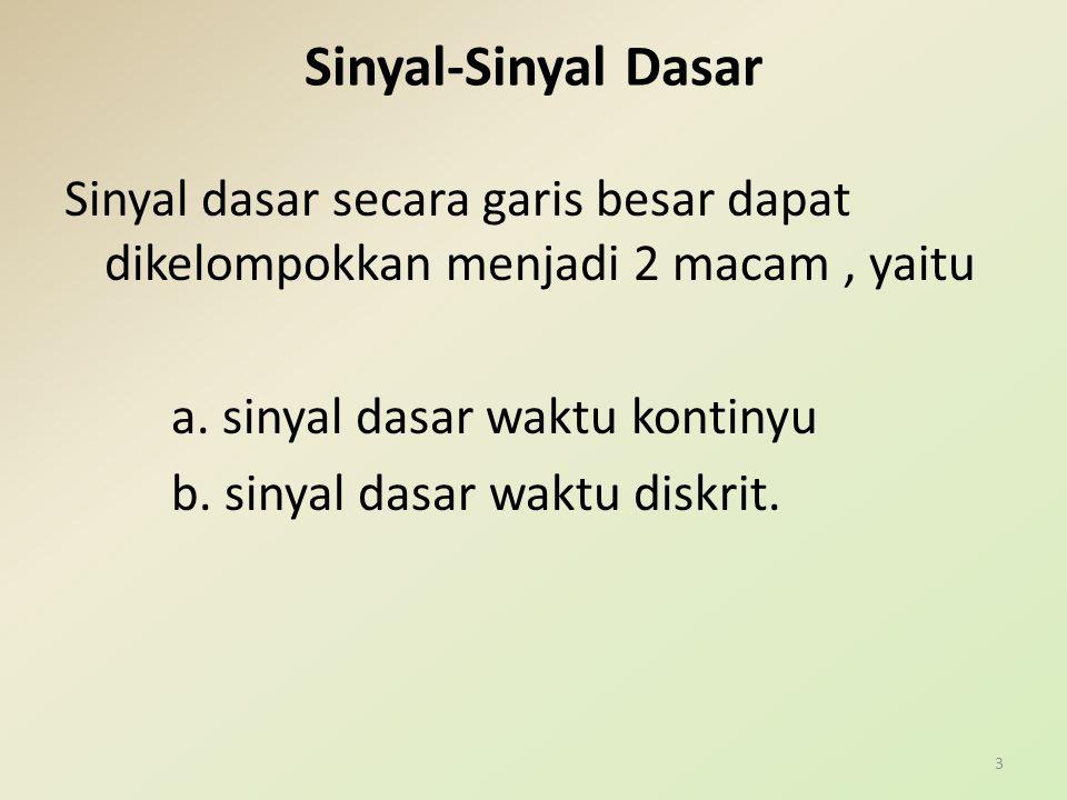 Sinyal-Sinyal Dasar Sinyal dasar secara garis besar dapat dikelompokkan menjadi 2 macam, yaitu a. sinyal dasar waktu kontinyu b. sinyal dasar waktu di