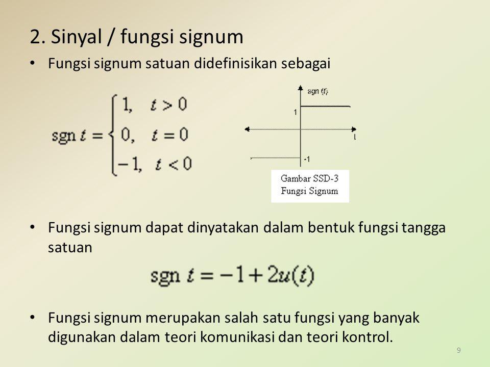 2. Sinyal / fungsi signum Fungsi signum satuan didefinisikan sebagai Fungsi signum dapat dinyatakan dalam bentuk fungsi tangga satuan Fungsi signum me
