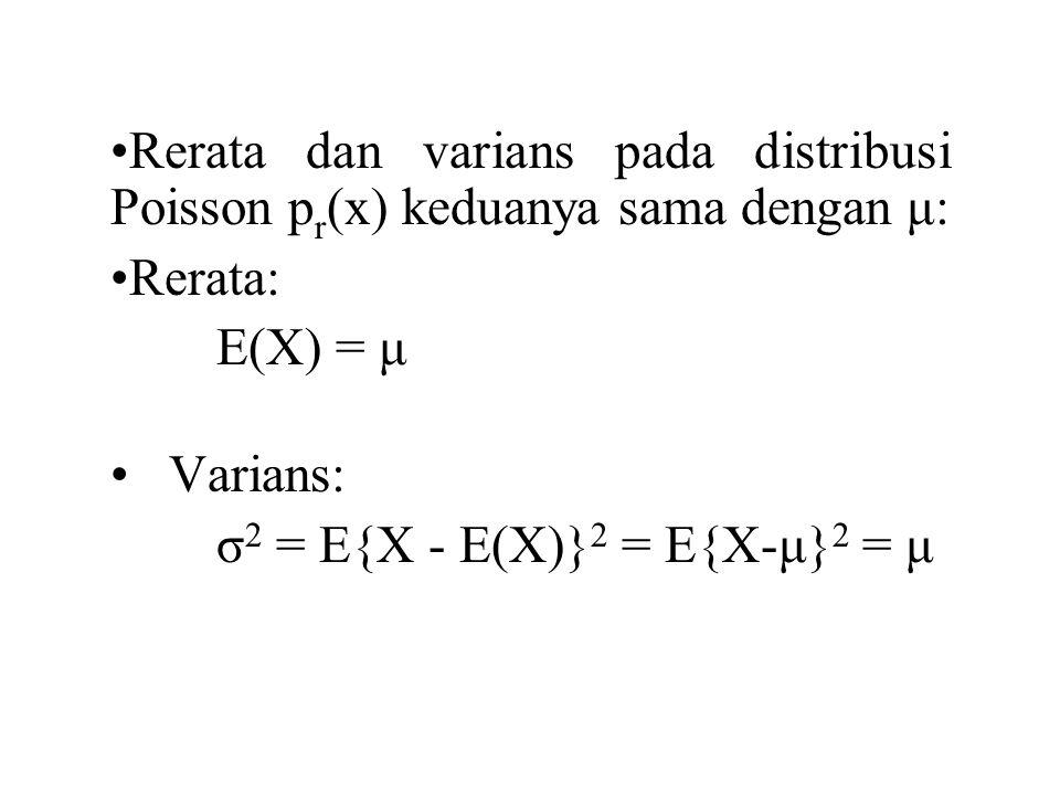DISTRIBUSI HIPERGEOMETRIK Banyaknya sukses dalam sampel acak ukuran n yang diambil dari N benda yang mengandung r bernama sukses dan N-r bernama gagal, 0 ≤ x ≤ r p r (x) = probabilitas x sukses (jumlah sukses sebanyak x) dalam n eksperimen, n= jumlah eksperimen, N= jumlah elemen dalam populasi, r= jumlah elemen bernama sukses dalam populasi.
