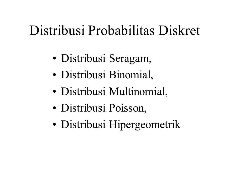 DISTRIBUSI SERAGAM Jika peubah acak X mendapat harga x 1, x 2,..., x k, dengan probabilitas yang sama maka distribusi seragam diskret diberikan oleh x = x 1, x 2,..., x k