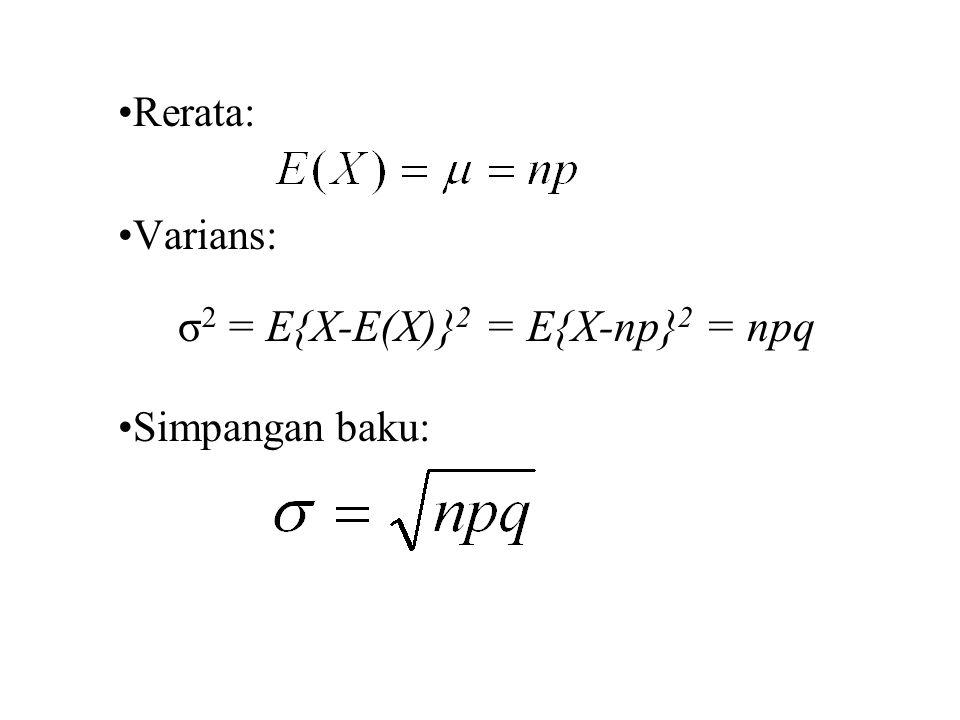 DISTRIBUSI MULTINOMIAL Jika suatu usaha tertentu dapat menghasilkan k macam hasil E 1, E 2,..., E k dengan probabilitas P 1, P 2,...P k, maka distribusi probabilitas acak X 1, X 2,...X k, yang menyatakan terjadinya E 1, E 2,...E k dalam n usaha bebas adalah p r (x 1, x 2,...,x k )= f(x 1, x 2,..., x k ; p 1, p 2,...,p k, n) =