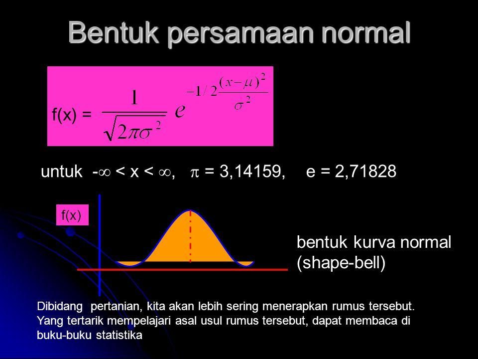 Bentuk persamaan normal f(x) = untuk -  < x < ,  = 3,14159, e = 2,71828 f(x) bentuk kurva normal (shape-bell) Dibidang pertanian, kita akan lebih s
