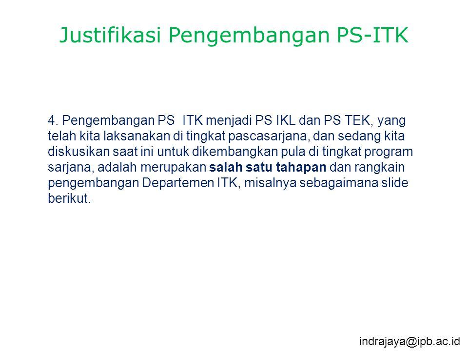 4. Pengembangan PS ITK menjadi PS IKL dan PS TEK, yang telah kita laksanakan di tingkat pascasarjana, dan sedang kita diskusikan saat ini untuk dikemb
