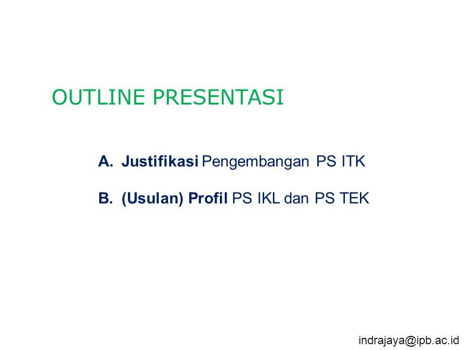 A.Justifikasi Pengembangan PS ITK B.(Usulan) Profil PS IKL dan PS TEK OUTLINE PRESENTASI indrajaya@ipb.ac.id