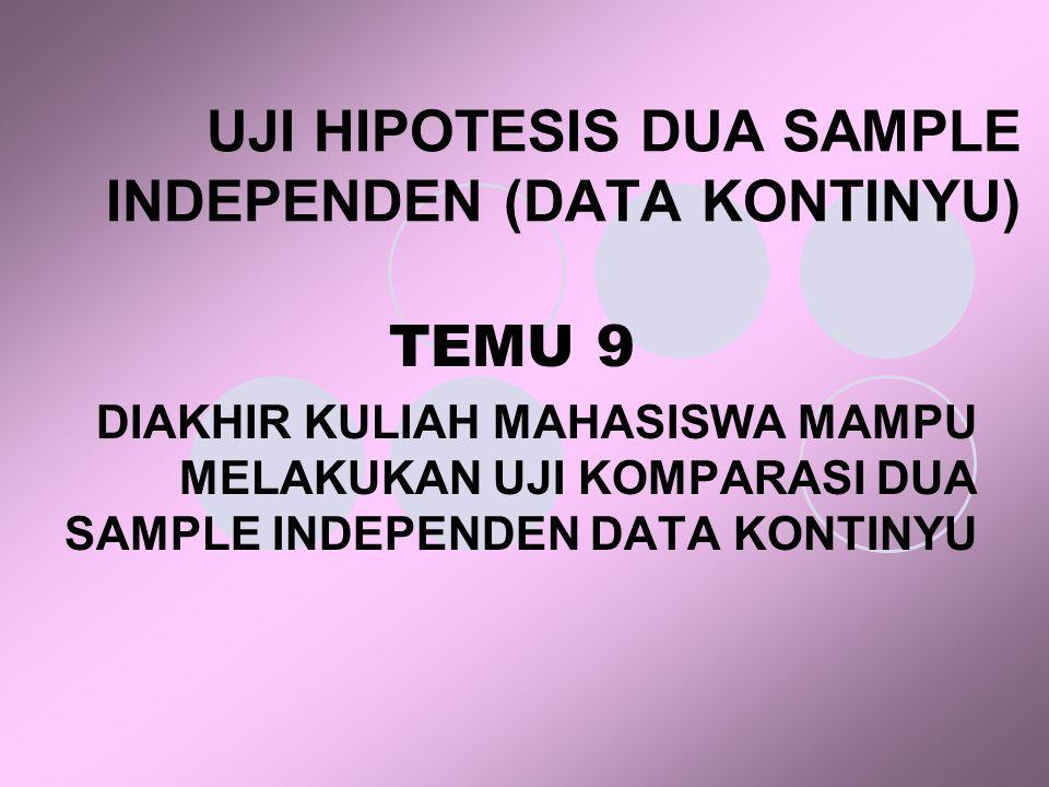 UJI HIPOTESIS DUA SAMPLE INDEPENDEN (DATA KONTINYU) TEMU 9 DIAKHIR KULIAH MAHASISWA MAMPU MELAKUKAN UJI KOMPARASI DUA SAMPLE INDEPENDEN DATA KONTINYU