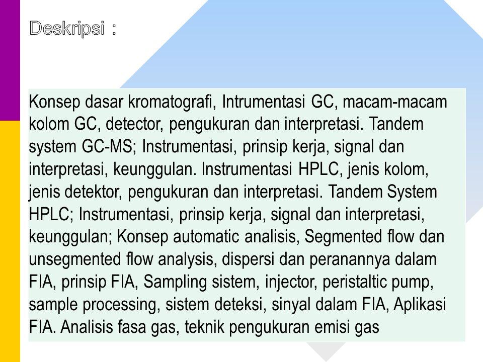 Konsep dasar kromatografi, Intrumentasi GC, macam-macam kolom GC, detector, pengukuran dan interpretasi. Tandem system GC-MS; Instrumentasi, prinsip k