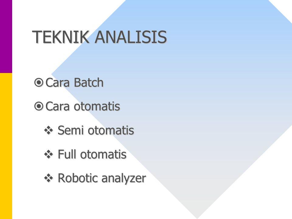 TEKNIK ANALISIS  Cara Batch  Cara otomatis  Semi otomatis  Full otomatis  Robotic analyzer