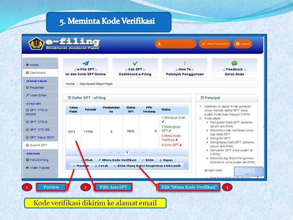 Klik Minta Kode Verifikasi Pilih data SPT 12 Kode verifikasi dikirim ke alamat email Preview 3